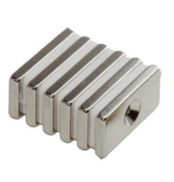 Block Shape Magnet with Countersunk Hole